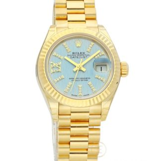 Rolex Lady-Datejust 28 Ice Blue Dial 18K Yellow Gold President 279178