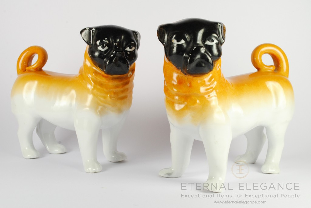 "Antique Porcelain Pug Dog Statues by ""Victoria"" Schmidt & Co Austria, 1890-1910"