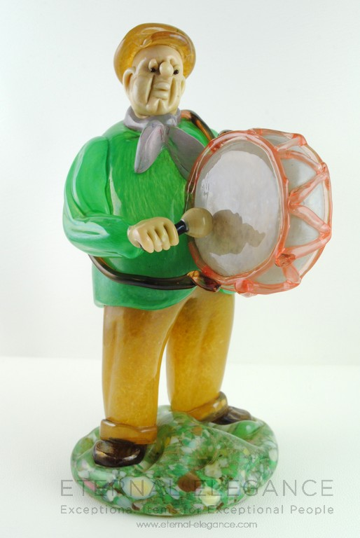 Venetian Murano Bass Drummer Glass Figure, Decorative Collectible Italy
