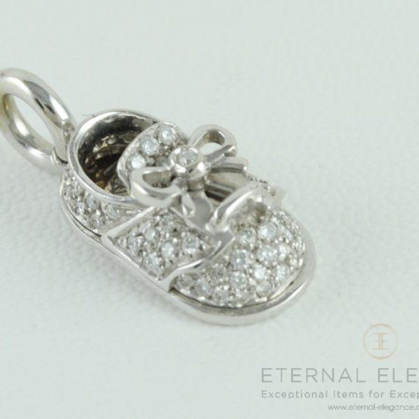 Aaron Basha 18kt White Gold Diamond Saddle Shoe Charm
