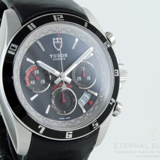 Tudor Grantour Chronograph 20530N Automatic Black Dial Black Leather Men's Watch