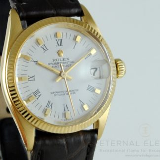 Rolex Oyster Perpetual Datejust Ref: 6827 Midsize 18k Gold Vintage Swiss Watch