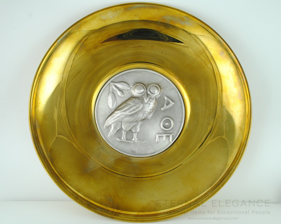 ilias LALAoUNIS 925 Sterling Silver and Brass Large Decorative Collectible Owl Medallion Plate