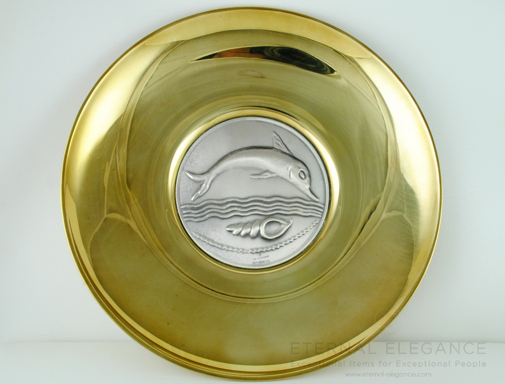 ilias LALAoUNIS 925 Sterling Silver and Brass Large Decorative Collectible Dolphin Medallion Plate