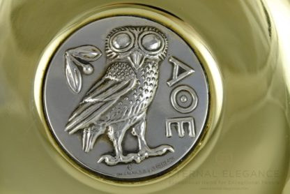 ilias LALAoUNIS 925 Sterling Silver and Brass Decorative Collectible Owl Medallion Plate