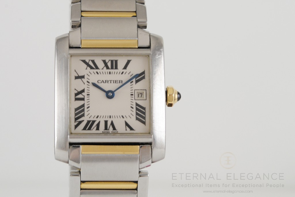 Cartier Tank Francaise 2465 Mid-Size Stainless Steel & 18K Gold Quartz Watch