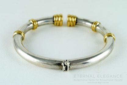 ilias LALAoUNIS 925 Silver and 18K Gold Set - Choker Necklace, Bracelet and Clip On Earrings