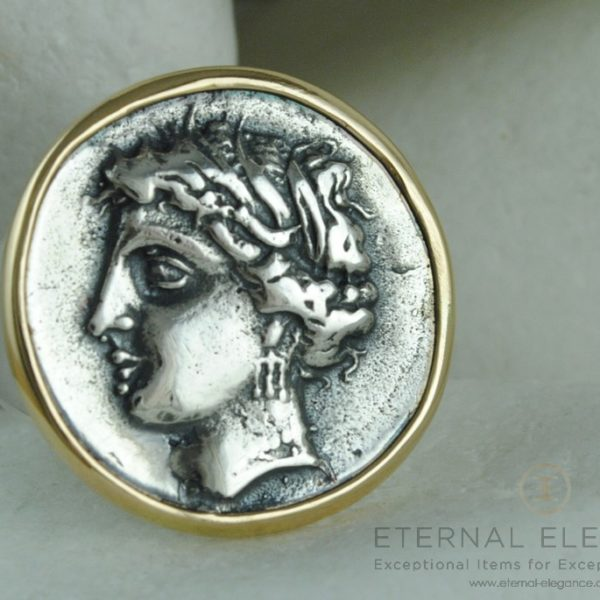 Goddess Persephone Ancient Greek Coin Ring by A. LeONDARAKIS
