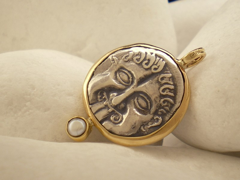 Gorgon Pearl Good Luck Pendant In Sterling Silver And 14K Gold By ALeONDARAKIS O Eternal Elegance