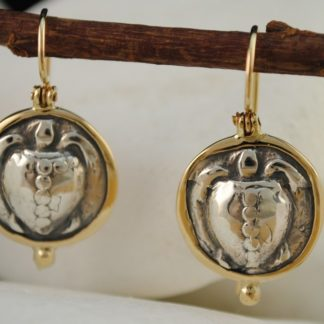 Ancient Greek Aegina Turtle Coin Earrings by A.LeONDARAKIS