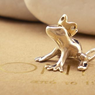 Frog Prince Pendant in Sterling Silver and 14K Gold by A.LeONDARAKIS