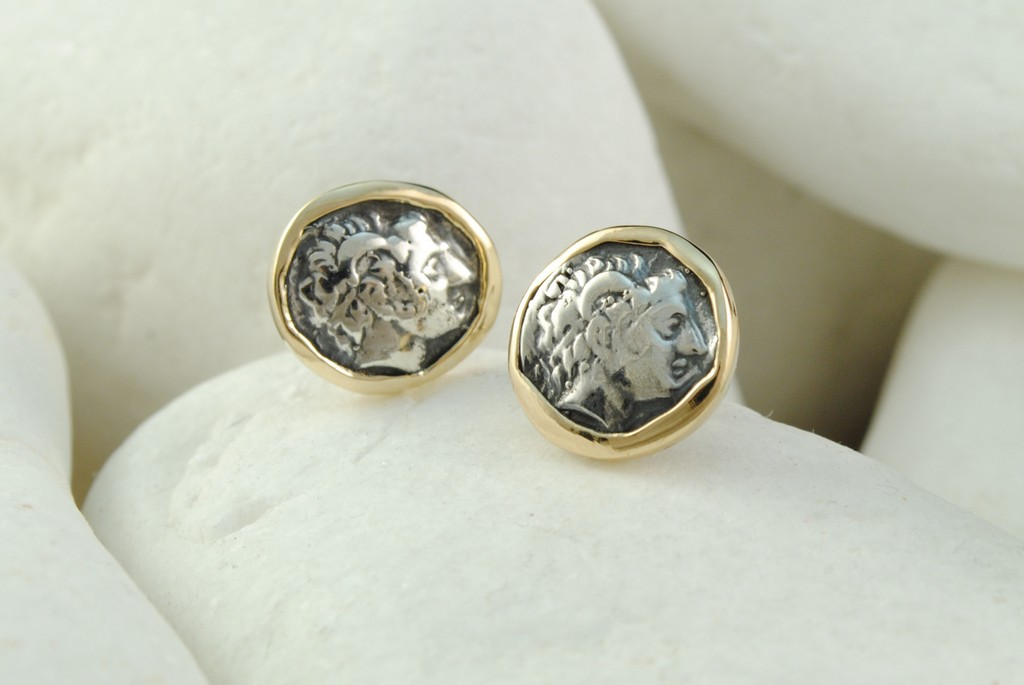 30f87ad1f Ancient Greek, Alexander the Great Coin Stud Earrings in Sterling Silver  and 18K Gold ...