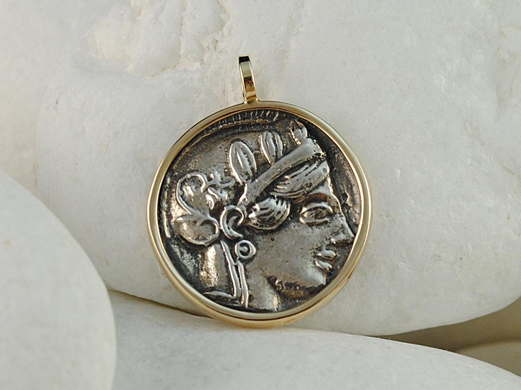 Ancient Greek Goddess Athena & Owl Coin Pendant - 925 & 14K by A LeONDARAKIS