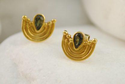 Green Tourmaline Byzantine Earrings by A.LeONDARAKIS