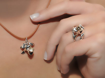Frog Prince Ring in Sterling Silver & 14K Gold by A.LeONDARAKIS