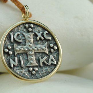 Byzantine Coin Christogram Pendant - 925 Silver & 14K Gold by A.LeONDARAKIS