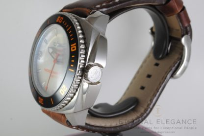 Ralf Tech WRX E-matic Day Date, Mother of Pearl Dial, Stainless Steel, Brown Leather Strap, 400m Diver's Watch