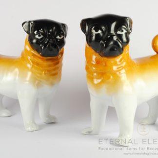 """Antique Porcelain Pug Dog Statues by """"Victoria"""" Schmidt & Co Austria, 1890-1910"""