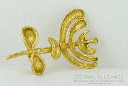 ilias LALAoUNIS Hammered Solid 18K Yellow Gold Brooch