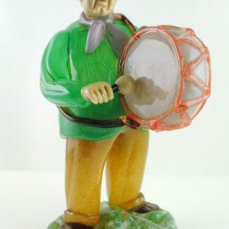 Venetian Murano Bass Drummer Glass Figure, Decorative Collectible Italy