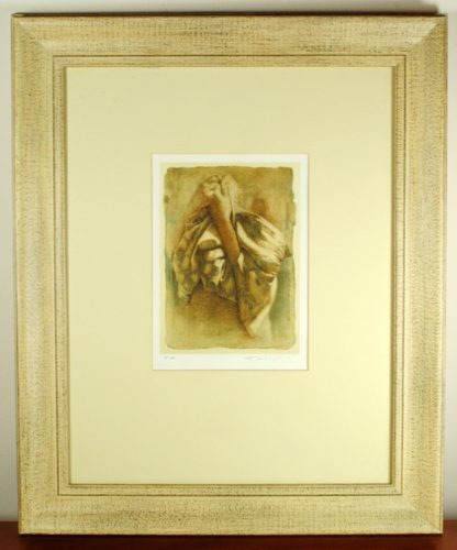 Miltos Pantelias Signed Limited Lithograph Print, Woman Portrait, Framed