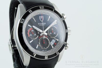 Tudor Grantour Chronograph 20530N Automatic Black Dial Black Leather Men's Watch