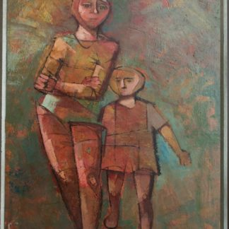 "Original Menelaos Katafigiotis Oil on Canvas Painting, Woman and Child, 90cm x 60cm (35.43"" X 23.62"")"