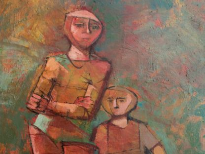 "Original Menelaos Katafigiotis Oil on Canvas Painting, Woman and Child, 90cm x 60cm (35.43"" X 23.62"")"