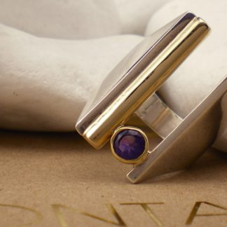 """Float"" Natural Purple Amethyst Cocktail Ring - Sterling Silver, 18k & 14k Gold by A.LeONDARAKIS"