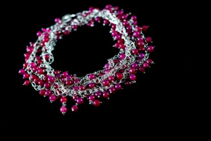 'Rose Passion' Multi Strands Silver Necklace with a Cascade of Fuchsia Agates and Swarovski by Loga di Lusso