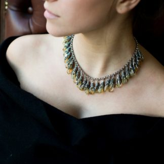 'Summer breeze' Cleopatra Style Choker with Raw Asymmetric Citrines and Vintage Style Oxidized Silver Elements by Loga di Lusso