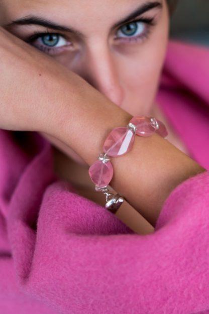 'Pink Sensuality' Asymmetric Pink Quartz Bracelet by Loga di Lusso