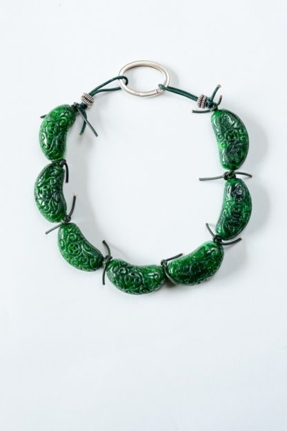 'Green Crescent Moon' Engraved Crescent-Shaped Jade Necklace by Loga di Lusso