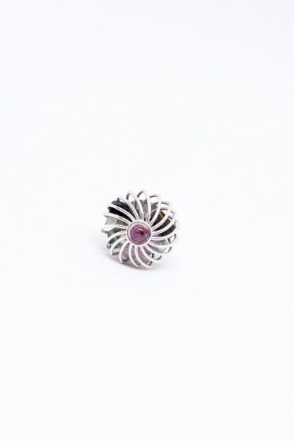 'Rainbow illusion' Cage shaped silver ring with raw multicolor tourmalines by Loga di Lusso