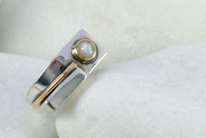 Pearl Ring in Sterling Silver, 14k & 18k Gold by A.LeONDARAKIS