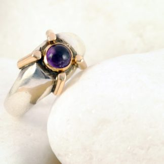 Natural Amethyst Ring- Sterling Silver & 18K Gold by A.LeONDARAKIS