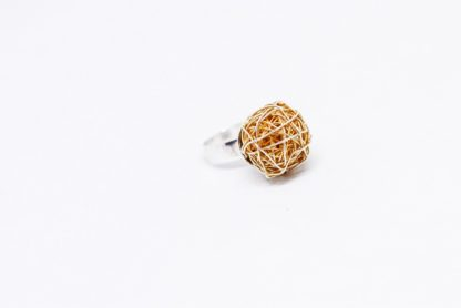 'Fire ball' Gold Plated Silver Wire Ball Ring by Loga di Lusso