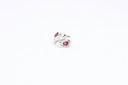 'Ripples of beauty' Asymmetric Rippling Silver Ring with Rubies