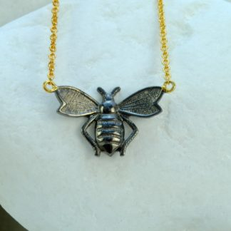 Bee Pendant in Black Rhodium Plated Sterling Silver by A.LeONDARAKIS