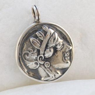 Ancient Greek Goddess Athena & Owl Pendant in 925 Silver by A.LeONDARAKIS