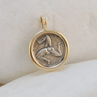 Ancient Greek Drachma Coin Triskelion Pendant by A.LeONDARAKIS