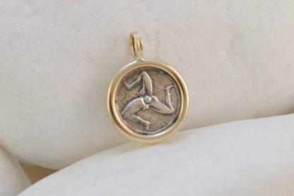 Ancient Greek Drachma Coin Triskelion Pendant by A.LeONDARAKIS