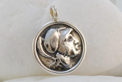 Ancient Greek Goddess Athena & Owl Coin Pendant by A.LeONDARAKIS