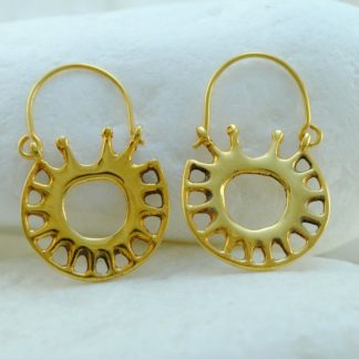 Gold Star Hook Earrings by A.LeONDARAKIS