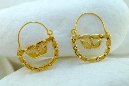 'Lemon Flower' Gold Hook Earrings by A.LeONDARAKIS