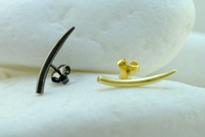 Gold Horn Stud Earrings with Butterlfu Clasp