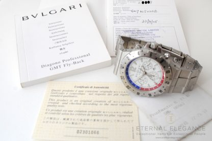 Bvlgari Diagono GMT Fly Back Chronograph GMT 40 SVD FB - Bvlgari authenticity certificate, International warranty booklet (stamped 22-4-05), and instructions booklet