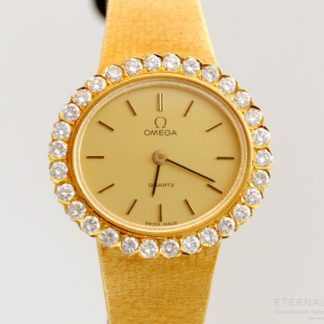 Omega 18k Gold Diamond Bezel Ladies Wristwatch